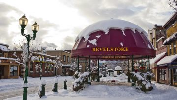 Revelstoke Downtown Winter Grizzly Plaza
