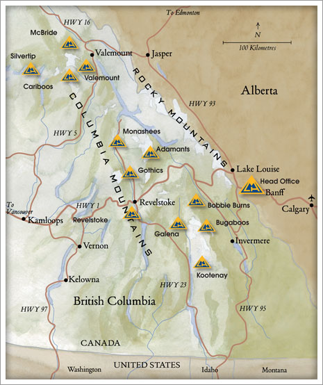 Map Of Canada Mountains.Canadian Mountain Holidays Heli Skiing Powder Canada