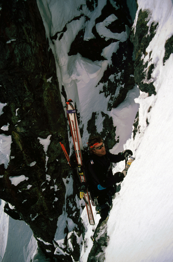 Eric Pehota negotiating the lower East Face