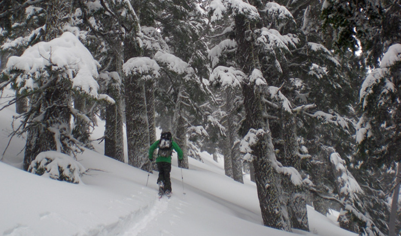Shane Fox kicks things into gear above Three Sisters Backcountry's Raven and Owl Yurts. Sisters, Ore