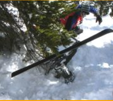 Volunteer Skier being Rescued by Ski Patrol During Tree Well Experiment