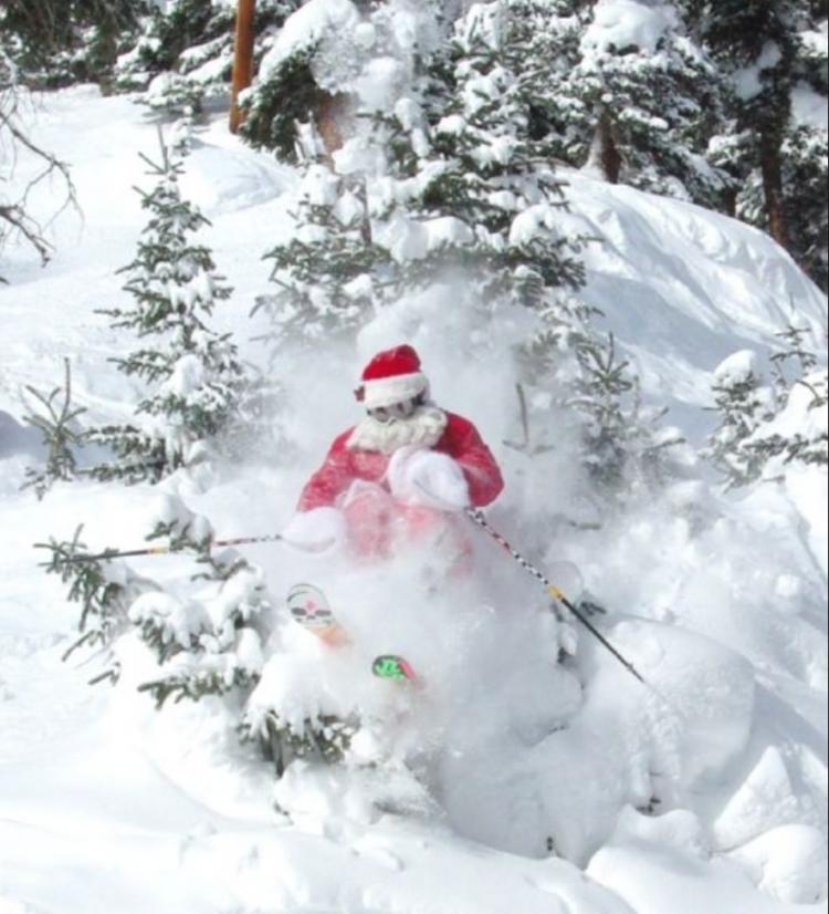 santa skiing powder