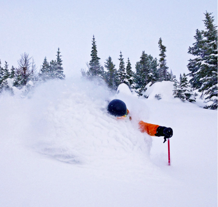 Kicking horse powder skier